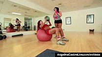 BBW Angelina Castro Gets A Strap On Workout With Teacher! thumbnail