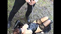 Dogging wife pissed on by 10 guys in a park preview image