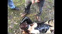 Dogging wife pissed on by 10 guys in a park Preview