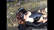 Dogging wife pissed on by 10 guys in a park Image