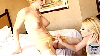 Big tits shemale babe Tyra Scott fucked by her tranny friend