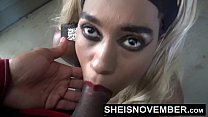 HD Cumshot Cum Swallow Facial Blowjob By Pretty Petite Blonde Hair Ebony In Public POV Tight Lips Sheisnovember صورة