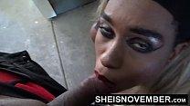 HD Cumshot Cum Swallow Facial Blowjob By Pretty Petite Blonde Hair Ebony In Public POV Tight Lips Sheisnovember صورة