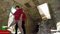 Couple fucking between ruins porn image