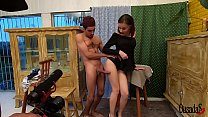 Young amateur Luara Amaral behind the scenes of...