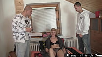Delivery men share old blonde mature woman