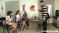 CFNM teens fuck a college teacher