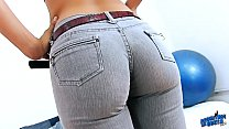Denim Eater ROUND ASS and CAMELTOE PUSSY Brunette Babe