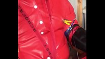 Rubber gimp strapped to chair, Butt plug inflated huge, electro nipples zapping