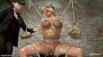 Huge tits bound lesbian slut toyed