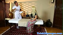 Busty massage MILF orally pleasing masseur