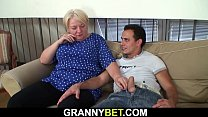 Big tits blonde old grandma