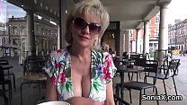 Unfaithful english milf lady sonia flashes her oversized hooters