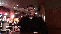 Upskirts masturbation in public restaurant of chubby amateur voyeur babe Alyss صورة