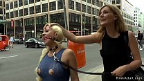 Busty petite blonde gangbang in public