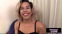 Classy black trans queen solo jerking session