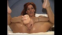 Amateur fucking a big b. dildo in bed