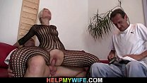 Old husband watches her riding cock after cunnilingus