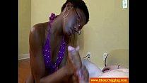 Ebony handjob babe jerks white dude off