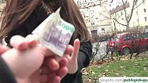 Russian brunette Milf earns fast cash by flashing her panties to a stranger image