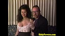 Retro sextape of busty babe handling two nobs preview image