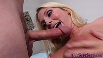 Blonde cougar gets facial after sucking pornhub video