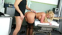 Fake Blonde Busty Bimbo in Lingerie undergoes a Hardcore Health Checkup at the Hospital