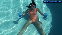 Micha Gantelkina does naked work out in the water