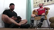 Muscle stud licks sweaty feet of his exhausted friend
