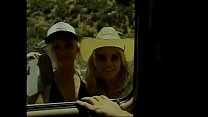 Two hitch hicking blonde honeys Katie Gold and Shay Sweet share stud's cock in the back of his van