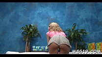 Fancy blonde stunner massages jock with lips rides it hard