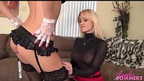 Hot blonde boss makes maid eat pussy
