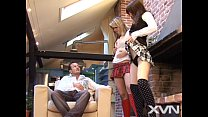 euro dude fucks Japanese girl and hot blonde in...