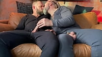 Two Hairy Dads helping each other out - Big Dicks