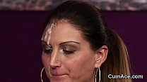 Flirty peach gets cumshot on her face swallowing all the jizz