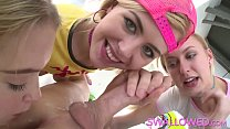 SWALLOWED Summer, Alexa and Chloe taking turns on fat dick