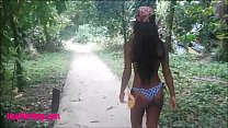 HD thai teen outdoor sucking monster cock in the jungle thumbnail
