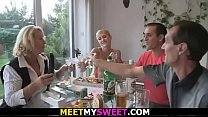 Family threesome with his teen gf