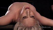 Blonde in back bend device hard flogged