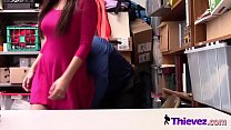 Stunning young thief Karlee Grey getting stripped and fucked on the desk