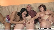 Innocent girl is seduced by her boyfriend's mom and fucked by old daddy preview image