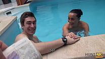 HUNT4K. Slim brunette has sex with stranger by the pool near her man