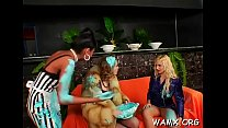 Lesbo women love to get messy during this hot three-some