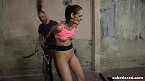 clamped gagged vibed and dildo fucked: miky love struggling to escape from ropes while being whipped nipple thumbnail