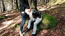 Fuck in the forest with hot chick in Levis Jean...