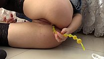Anal balls in the juicy ass and masturbation hairy pussy to orgasm. preview image