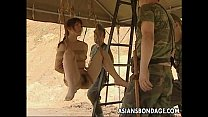 Asian slut h. on some ropes fucked by the soldiers