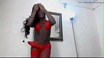 Columbian blk trans strokes her big dick