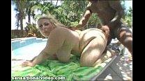 Busty Babe in Bikini Oils Up Big Black Dick