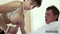 Adulterous english milf lady sonia showcases her oversized breasts